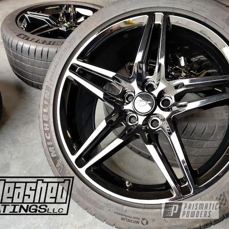 "Powder Coating: Wheels,19"" Wheels,Rims,Black,Ink Black PSS-0106,Ford Mustang,Ford"