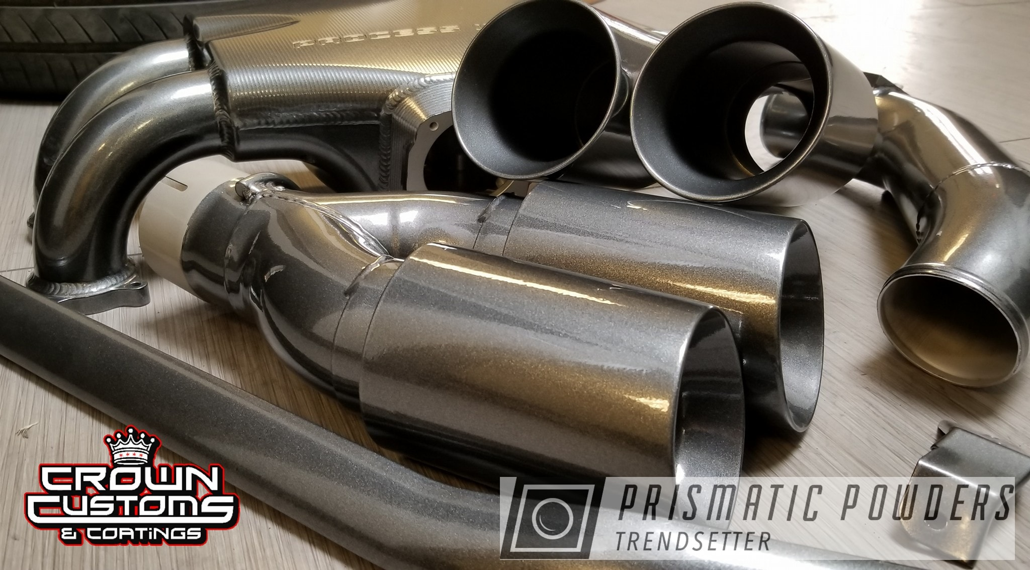 Powder Coating: Intake Manifold,Automotive,Strut Bar,Exhaust Tip,Kingsport Grey PMB-5027,Engine Parts