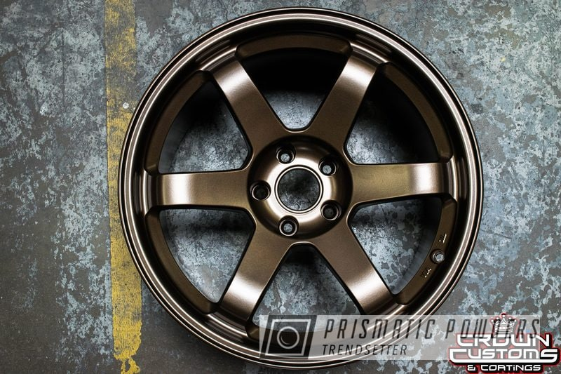 Powder Coating: Wheels,Powder Coated Volk TE37 Racing Wheel,Volk TE37,volk racing wheels,Bronze Chrome PMB-4124