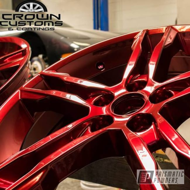 Powder Coating: Wheels,SUPER CHROME USS-4482,Two Stage Application,Two Stage Powder Coat Application,Wizard Red PPS-4690