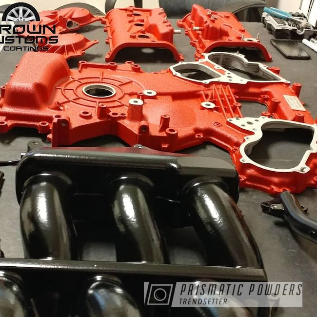 Powder Coating: Automotive,Nissan,Hacienda Red Wrinkle PWB-6450,Nissan Valve Cover,GTR Covers,Nissan GTR Engine Components