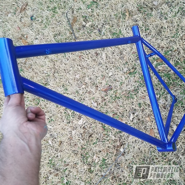 Powder Coating: Illusion Blue-Berg PMB-6910,Bicycles,Clear Vision PPS-2974,Coated Bicycle Frame,Powder Coated Bike Frame