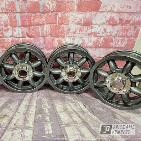 "Powder Coating: Wheels,Clear Vision PPS-2974,Rims,Aluminum Rims,Austin Healey,Kingsport Grey PMB-5027,13"" Aluminum Rims,Automotive Wheels,Aluminum Wheels"