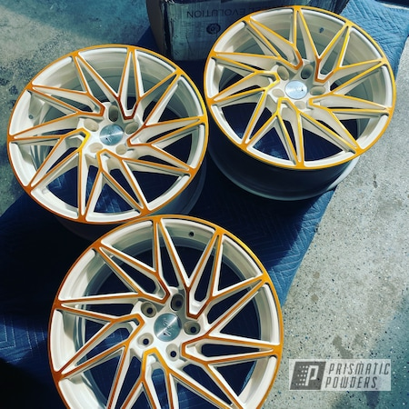 "Powder Coating: Wheels,Goldtastic PMB-6625,2 Tone,Rims,Super Chrome Plus UMS-10671,Honda,18"" Aluminum Rims,White and Gold,Gloss White PSS-5690"