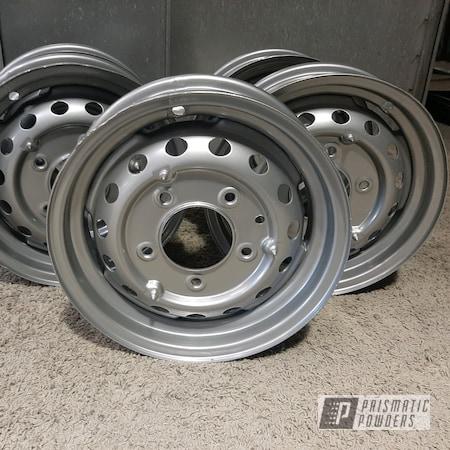 Powder Coating: Wheels,Rims,Satin Silver PMS-1438,Steel Rims