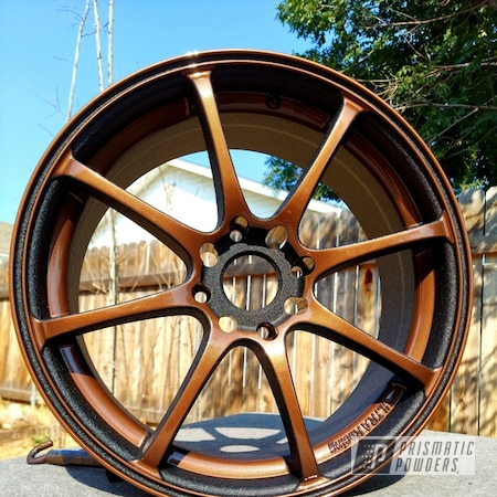 "Powder Coating: Wheels,Custom Wheel,3 Tone Wheels,Custom Wheels,17"" Wheels,VANDOOZY COPPER UMB-6675,Rainbow's End PMB-2691,Splatter Black PWS-4344,Clear Vision PPS-2974,Rims,2 Stage Application,3 Color Application,Copper Wheels"