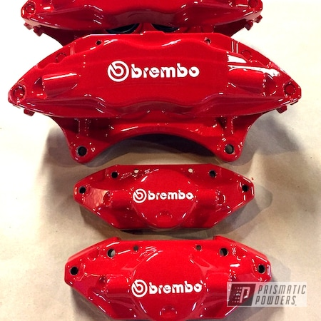 Powder Coating: Single Powder Application,Automotive,Brembo Brakes,Astatic Red PSS-1738,Custom Brake Calipers