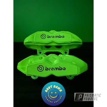 Brembo Brake Calipers Powder Coated In Polar White And Neon Yellow