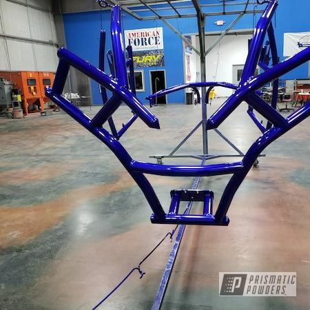 Powder Coating: Polaris RZR,Custom Cage,POLISHED ALUMINUM HSS-2345,Roll Cage,2 Stage Application,Polaris,RZR,Empire Blue PPB-4585
