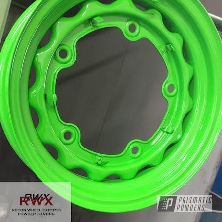 Powder Coating: Wheels,Powdercoat,Green,Steel Wheels,Tacate Green PSS-0116,Automotive Rims,Recon Wheel Experts,Lime Green,High Gloss,Automotive Wheels,Steel Rims