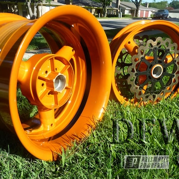 Suzuki Hayabusa Motorcycle Wheels Coated In Celestial Orange