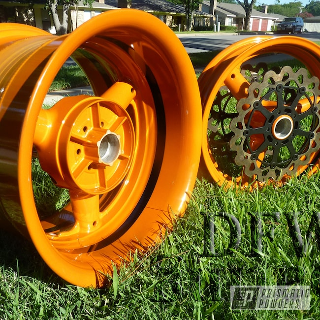 Powder Coating: Wheels,Suzuki Hayabusa,Celestial Orange PMB-2715,Custom Motorcycle Wheels,Motorcycles