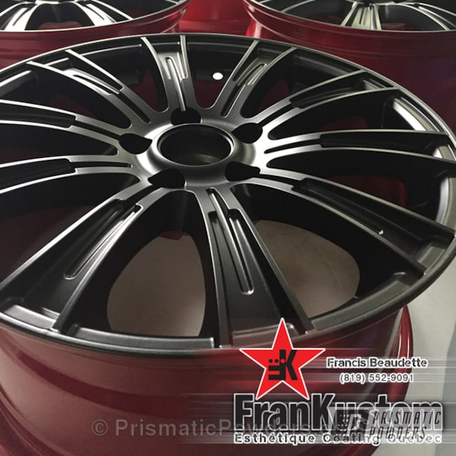 Powder Coating: Wheels,Automotive,Heavy Silver PMS-0517,BLACK JACK USS-1522,Custom Wheels,Three Powder Application,Soft Red Candy PPS-2888