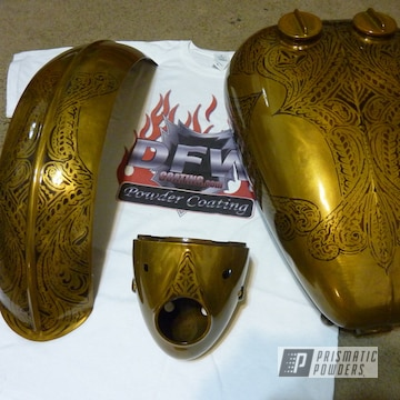 Custom Motorcycle Tank Coated In Transparent Brass