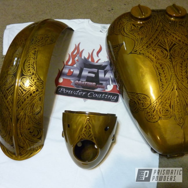 Powder Coating: Transparent Brass PPS-5159,Motorcycle Tank,fender,Motorcycles