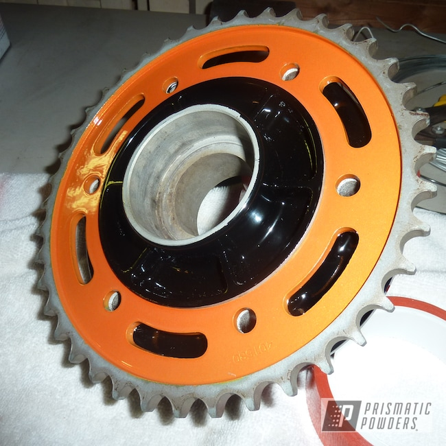 Powder Coating: Motorcycle Sprocket,Celestial Orange PMB-2715,Motorcycles