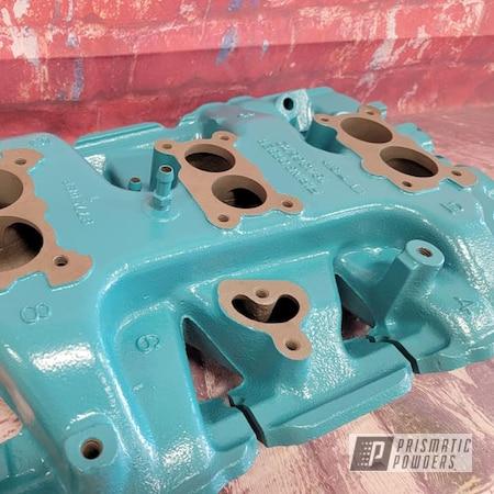 Powder Coating: Intake Manifold,Automotive,RAL 5018 Turquoise Blue,Automotive Parts,Pontiac
