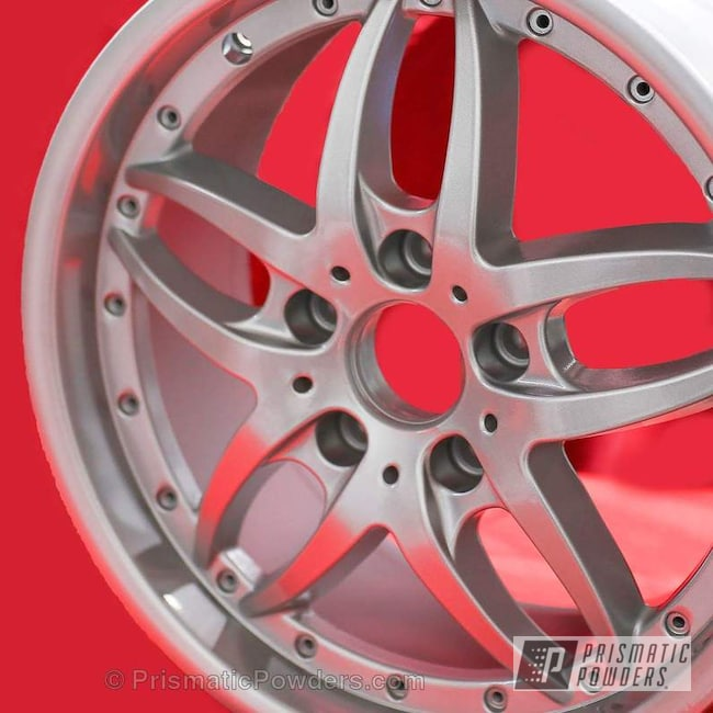Powder Coating: Wheels,BMW Silver PMB-6525,Automotive,Clear Vision PPS-2974,Custom Wheels,Clear Coat Used,Solid Tone