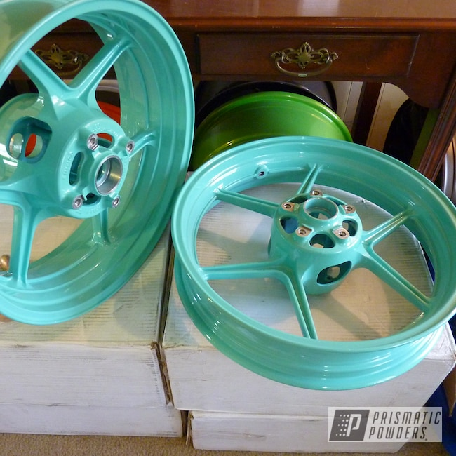Powder Coating: Wheels,Powder Coated Motorcycle Wheels,Motorcycles,RAL 6027 RAL-6027