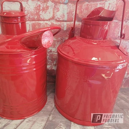 Powder Coating: Metal Cans,Vintage Cans,Vintage,RAL 3002 Carmine Red,Oil Cans