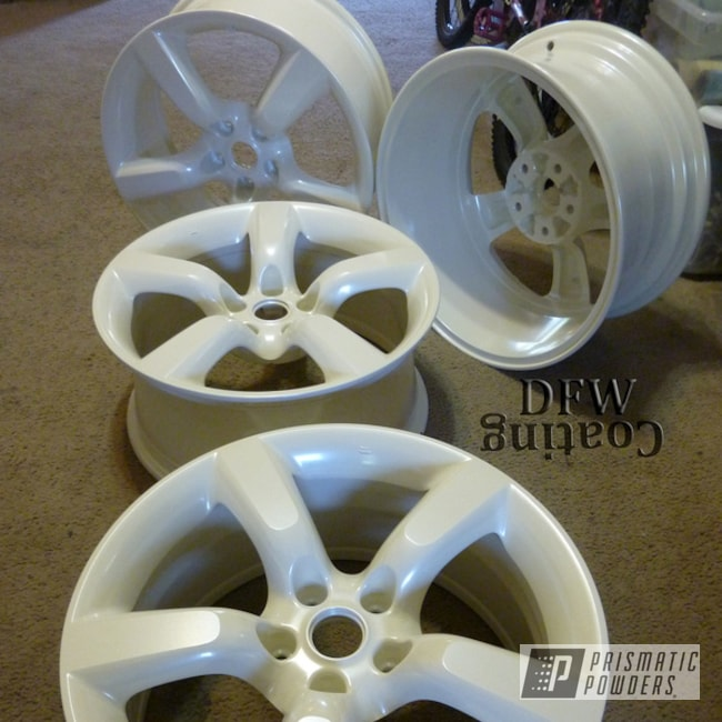 Powder Coating: Wheels,Color Match,Escalade White PMB-5977,Custom Powder Coated Wheels,350Z Wheels,Diamond Pearl Clear PPB-6631