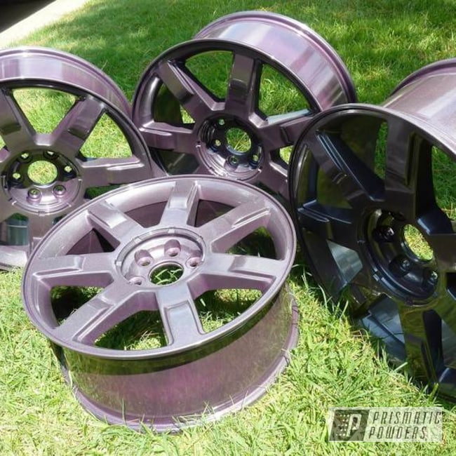 "Powder Coating: Automotive,Fantasy Plum PMB-1123,Diamond Pearl Clear PPB-6631,Powder Coated 22"" Wheels"