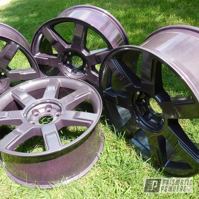 "Powder Coating: Automotive,Fantasy Plum PMB-1123,Diamond Pearl Clear PPB-6631,Powder Coated 22"" Wheels"