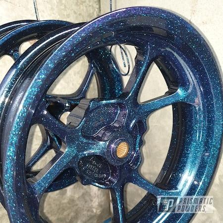 Powder Coating: Wheels,Chameleon,Motorcycle Rims,Rims,Chameleon Sapphire PPB-5729,Ink Black PSS-0106,Motorcycle Wheels