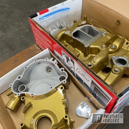 Powder Coating: Intake Manifold,Powder Coated Edelbrock Intake Manifold,Automotive,Edelbrock,Edelbrock Intake,Spanish Gold EMS-0940