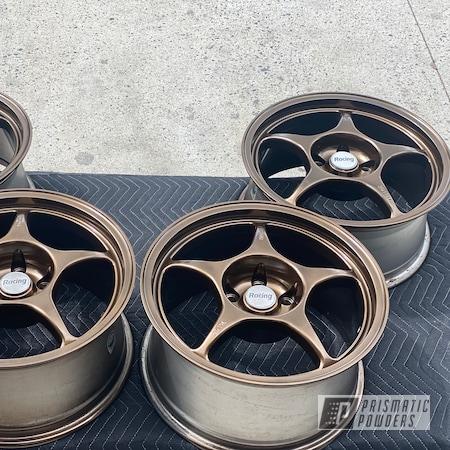 "Powder Coating: MATTE CLEAR PPB-4509,Wheels,18"",Bronze Chrome PMB-4124,117ci,2 stage,Harley"