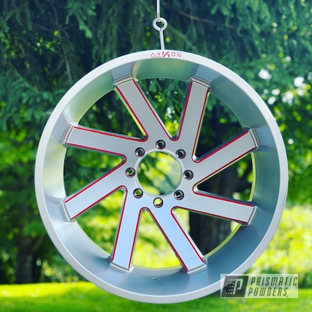 """Powder Coating: Wheels,2 Tone,Rims,Dodge,Two Tone Wheels,Crushed Silver PMB-1544,24"""",Two Tone,Very Red PSS-4971,Two Toned"""