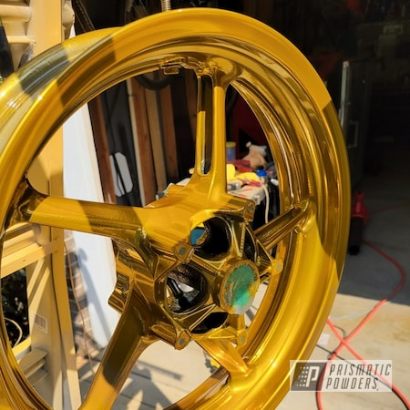 """Powder Coating: Clear Vision PPS-2974,Motorcycle Rims,Super Chrome Plus UMS-10671,17"""" Wheels,Brassy Gold PPS-6530,Motorcycle Wheels"""