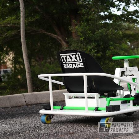 Powder Coating: Soft Satin White PSS-1353,Drift Cart,Energy Green PSB-6669,Taxi Garage Crazy Cart,Taxi Garage,Crazy Cart,Cart,Go Cart