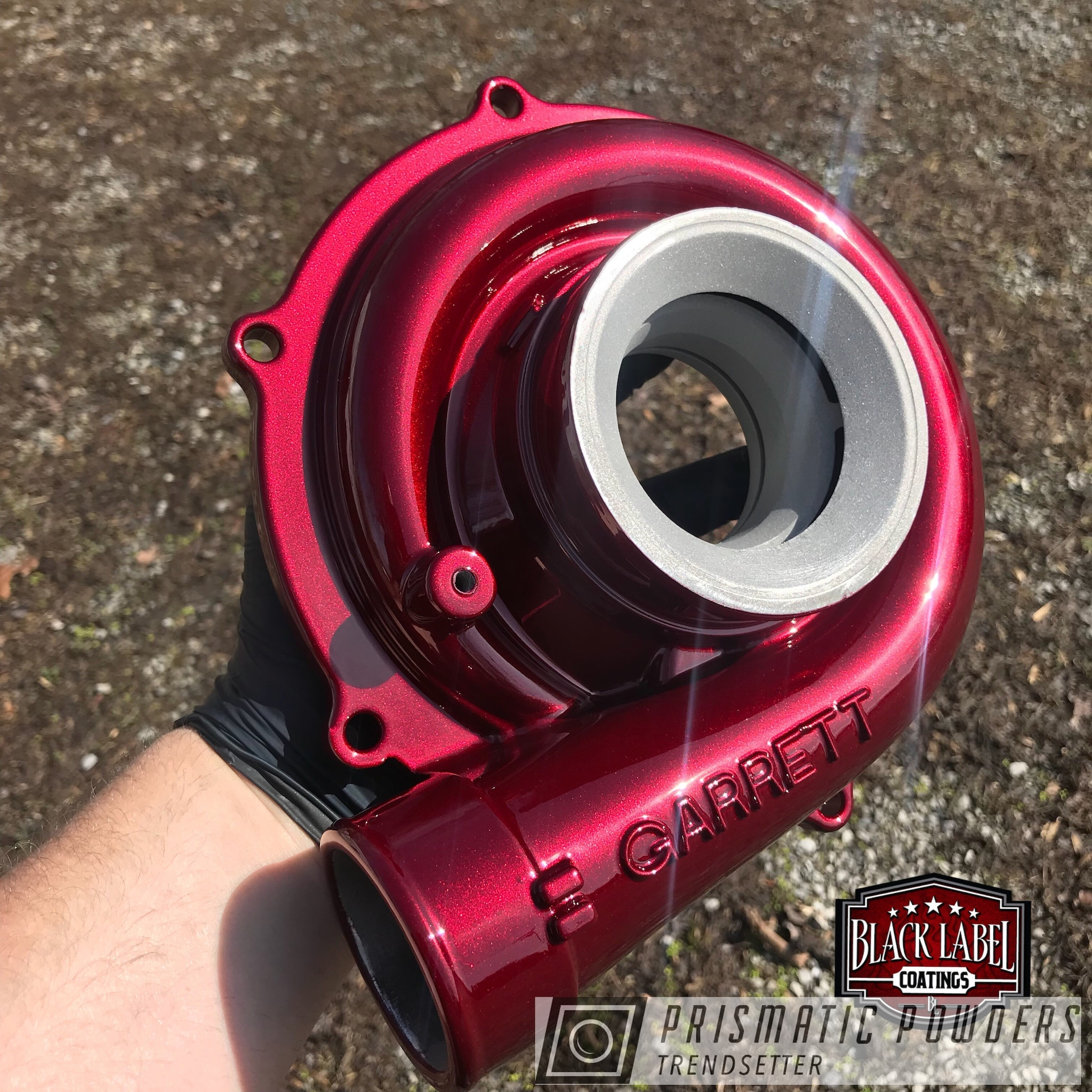 Powder Coating: Turbo Parts,Turbo Housing,Clear Vision PPS-2974,Two Stage Application,Two Stage Powder Coat Application,Illusion Cherry PMB-6905