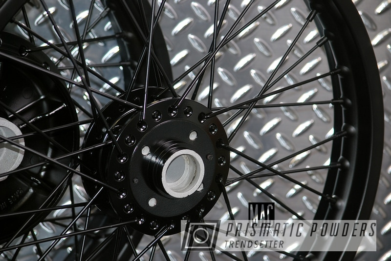 Powder Coating: Wheels,Single Stage Powder Coat Application,Custom Motorcycle Wheels,Powder Coated Motorcycle Wheels,Black Jack USS-1522,Motorcycles