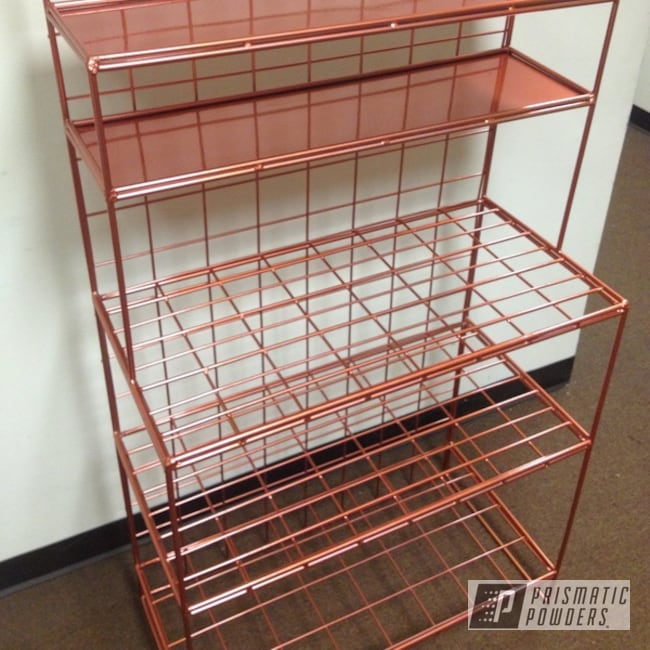 Powder Coating: Rack,Clear Vision PPS-2974,Two Stage Application,Bakers Rack,Illusion Rose Gold PMB-10047,Custom 2 Coats,Shelf,Miscellaneous