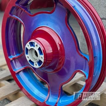 Powder Coated Custom Wheel In Pms-4621, Pmb-6905 And Pps-2974