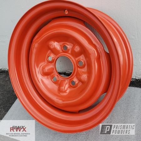 Powder Coating: Impala,Powdercoat,Steel Wheels,powder coating,powder coated,Recon Wheel Experts,Harley Orange PMB-2829,Steel,Steel Rims