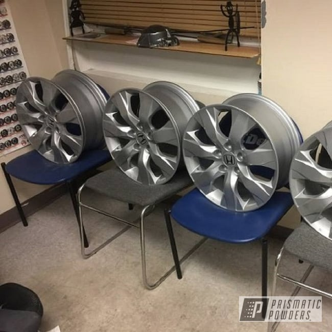 Powder Coating: Wheels,BMW Silver PMB-6525,Automotive,Clear Vision PPS-2974,Powder Coated Wheels