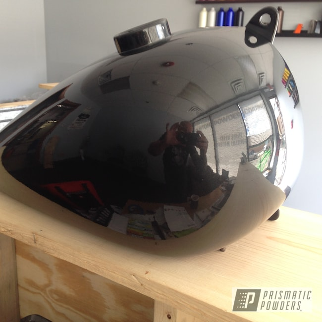 Powder Coating: Clear Vision PPS-2974,1 Coat Whiffle Dust PMB-6351,Motorcycles,Motorcycle Gas Tank