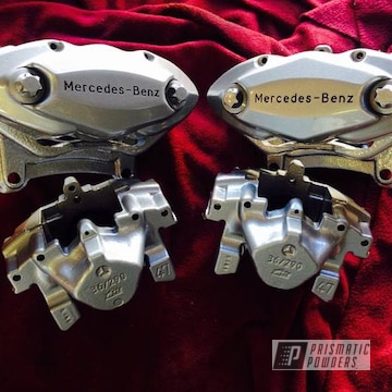 Custom Mercedes-benz Brake Calipers Coated In Silver Sparkle