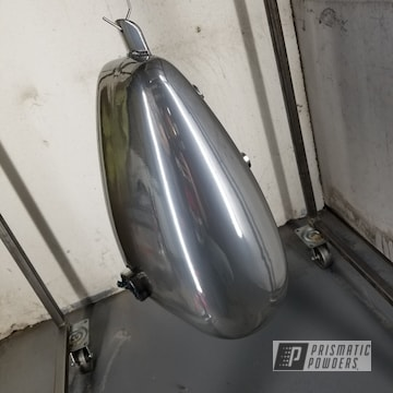 Custom Motorcycle Tank Coated Using Super Chrome And Clear Vision