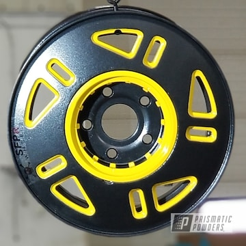Custom Rim Coated Using Silk Satin Black, Ironstone Sparkle And Electric Yellow