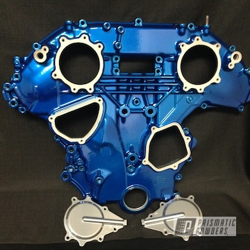 Front Engine Cover coated in Lollypop Blue over Super Chrome