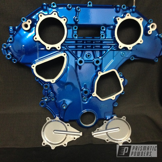 Powder Coating: Automotive,SUPER CHROME USS-4482,LOLLYPOP BLUE UPS-2502,Front Cover,Custom Automotive Accents