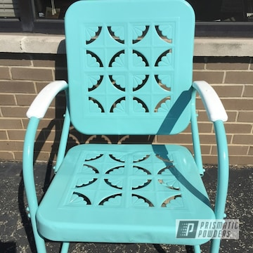 Custom Patio Chair coated using Gloss White and RAL 6027 a Light Green Color