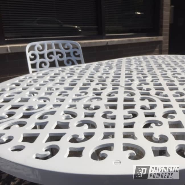 Refinished Patio Furniture Coated In Low Gloss White