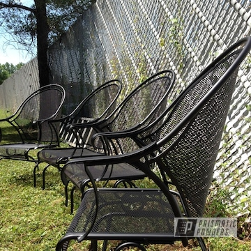 Patio Chairs coated in Silk Satin Black