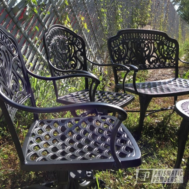 Patio Furniture Coated In Ironstone Silver Satin