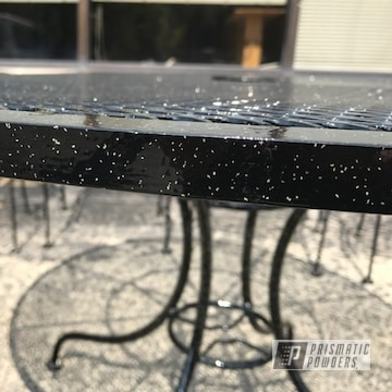 Custom Patio Furniture coated in Gloss Black and Rockstar Sparkle